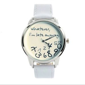 White Vegan Leather Watch ( WhtEver I'm Late)